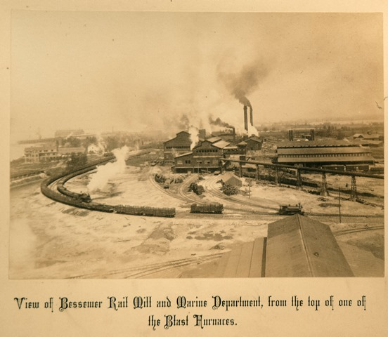 View of the Rail Mill and shipyard from the Blast Furnaces