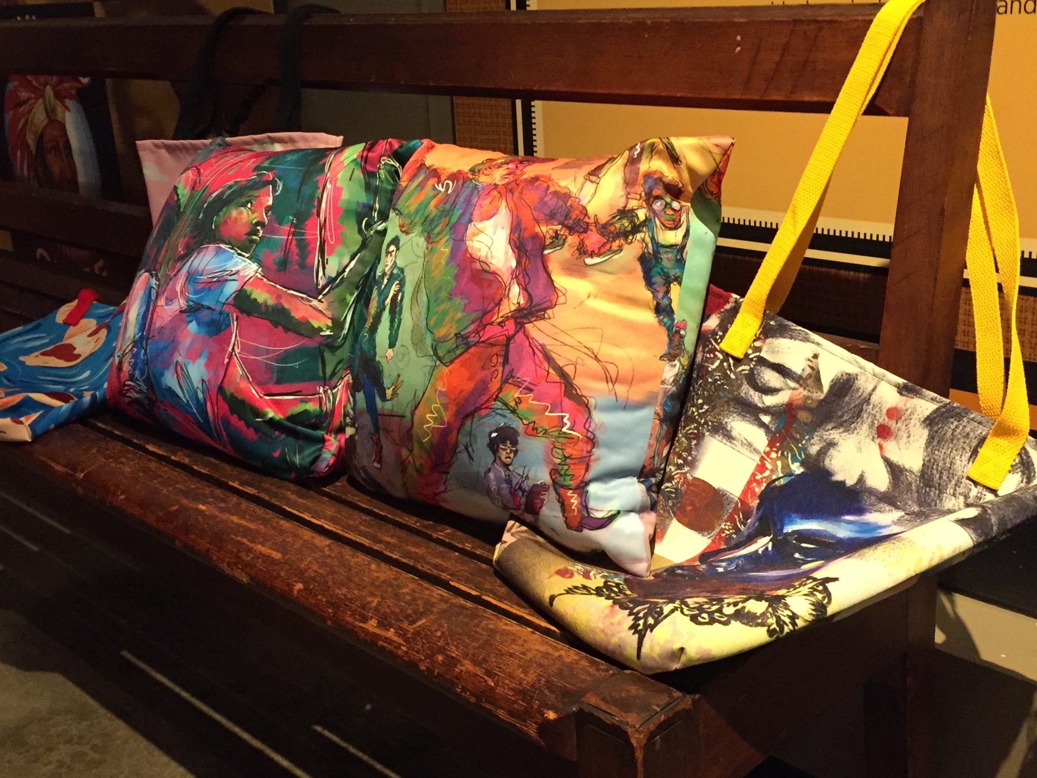Art pillows and totes by Baltimore Gifted