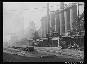 A black and white photograph of the Bethlehem Steel mill at Sparrows Point, including railroads