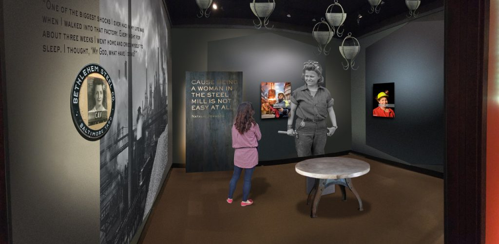 An illustration shows an indoor gallery with dark walls, a table at the center, and photographs and text on the walls