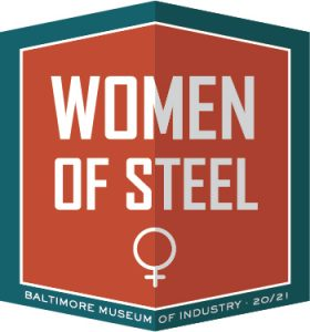 "The ""Women of Steel"" logo is a rust-and-teal hexagon containing the female symbol"