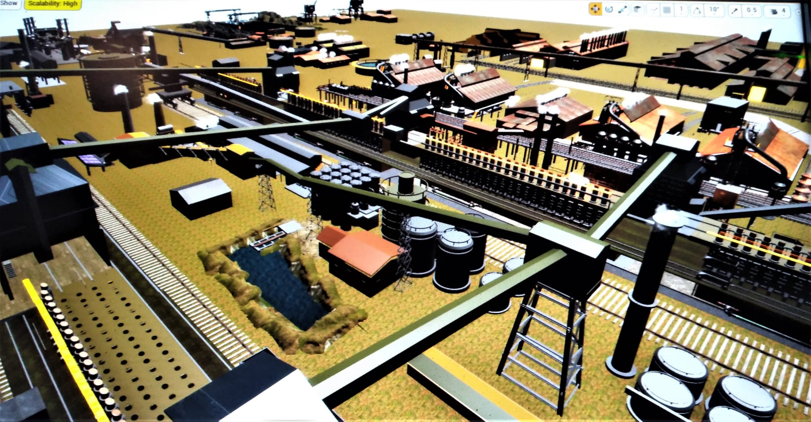 An aerial view of a computer-generated rendering of the Sparrows Point mill
