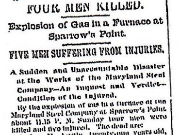Black and white image of a Baltimore Sun article from 1891 describing the accident