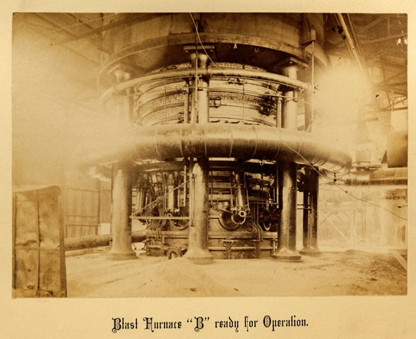 """A black and white photo of blast furnace """"B"""" from 1890"""
