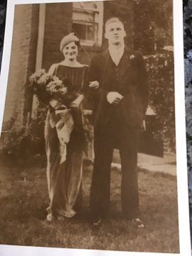Black and white photo of newlywed Strasbaugh couple in 1933.