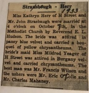 Black and white newspaper clipping describing Kathryn Herr and John Senior's wedding