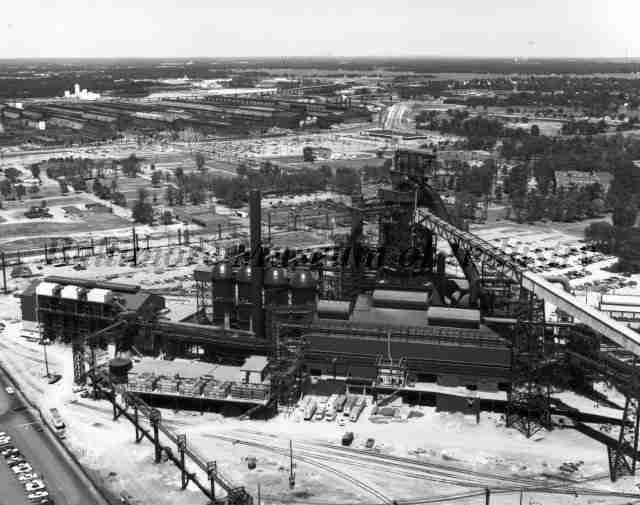 Black and white photo of blast furnace L, a triangular shaped blast furnace.