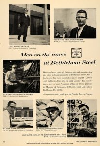 """A black and white advertisement shows six different men smiling and describes how they could become """"loopers"""" at Bethlehem Steel"""